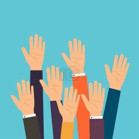 businesspeople raising hands