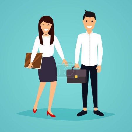 Illustration pour Homme d'affaires et femme dans le design plat. La réunion, présentation, conférence, vie sociale. Illustration vectorielle . - image libre de droit