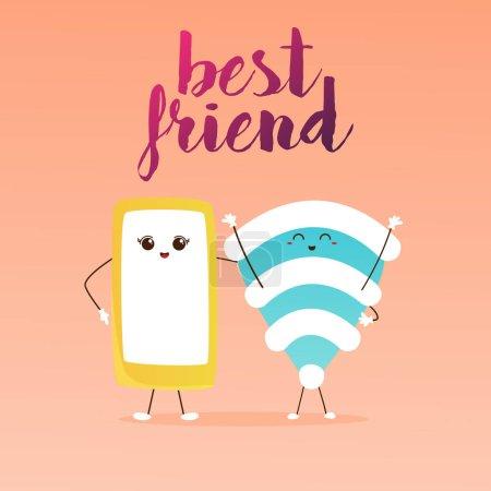 Cartoon wifi friends set
