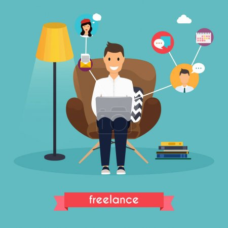 Illustration for Man working at home. Young man sitting on chair and using laptop. Freelance, self employed, freedom, in living room. - Royalty Free Image