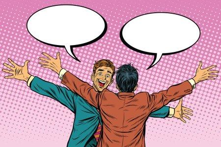 Illustration pour Les deux hommes se câlinent joyeusement, amitié, illustration vectorielle rétro pop art. Les émotions humaines - image libre de droit