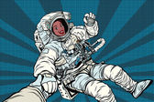 Woman astronaut African American gesture OK