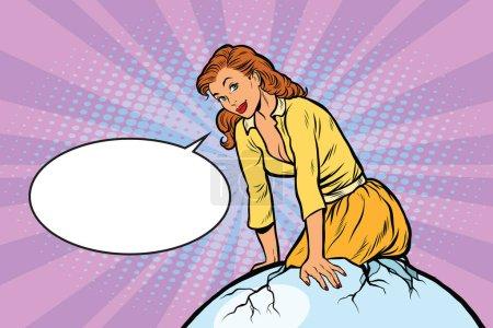 Illustration pour Fille rétro écoutille de l'oeuf et dit, vecteur pop art - image libre de droit