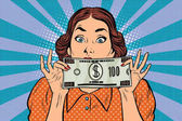 Surprised beautiful retro woman banknote hundred dollars