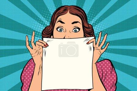 Illustration pour Superbe femme rétro surprise, feuille de papier carrée blanche, illustration vectorielle pop art - image libre de droit