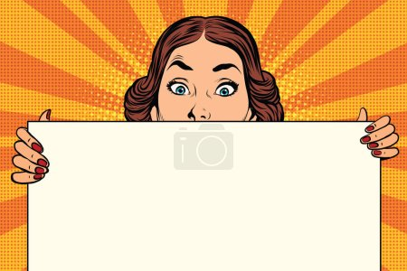 Illustration for Surprised beautiful retro woman, long Billboard, pop art vector illustration - Royalty Free Image