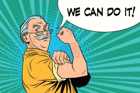 Illustration for We can do it old man. Vintage pop art retro illustration. Oldies retired - Royalty Free Image