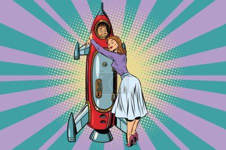Wife hugs her husband astronaut in the rocket