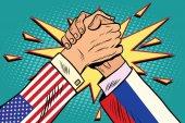USA vs Russia Arm wrestling fight confrontation