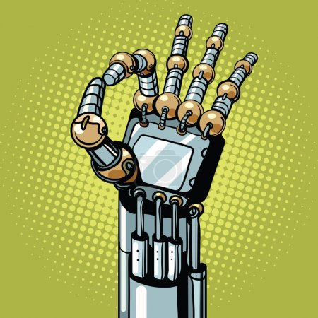 Illustration for Robot OK okay gesture hand pop art retro vector illustration. Prosthetics and medicine - Royalty Free Image