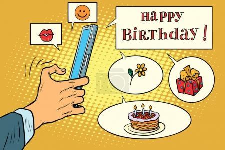 Illustration pour Appli mobile salutations joyeux anniversaire. Pop art rétro BD illustration vectorielle de bande dessinée. Réseaux sociaux et cadeaux - image libre de droit