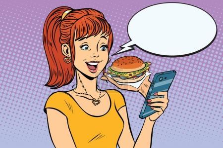 Illustration pour Adolescente de fille en ligne commander le Fast-Food Burger. Illustration vectorielle rétro pop art - image libre de droit