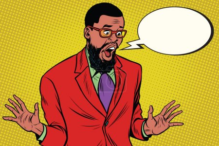 Illustration for Shocked hipster bearded African American businessman says comic cloud. Pop art retro vector illustration - Royalty Free Image