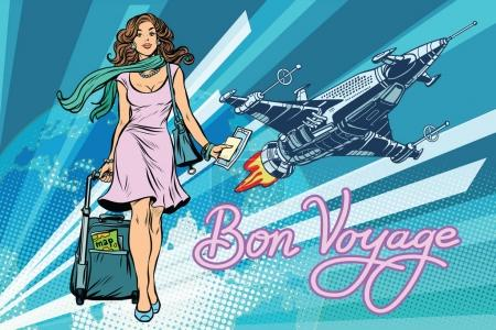Illustration for Bon voyage space travel, space tourism. Pretty girl passenger with Luggage. Pop art retro vector illustration - Royalty Free Image