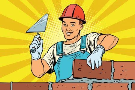 Illustration pour Construction de maçonnerie. Construction et réparation. Illustration vectorielle rétro Pop art - image libre de droit