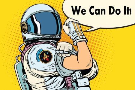 Illustration for We can do it astronaut. Cosmonaut gesture. Pop art retro vector illustration - Royalty Free Image
