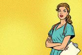 Beautiful Caucasian nurse with stethoscope