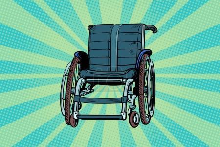 Illustration pour Fauteuil roulant, médecine et santé, transport des patients. Illustration vectorielle rétro Pop art - image libre de droit
