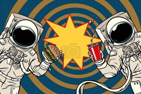 zwei Astronauten essen Fast Food zu Mittag
