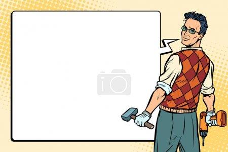 Illustration for Repairman, carpenter and comic bubble. Pop art retro vector illustration. - Royalty Free Image