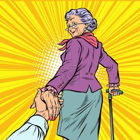 folgen Sie mir reife Frau Oma führt Hand