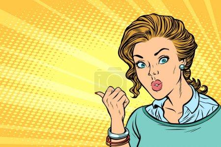 Illustration pour Pop art femme pointant du doigt. illustration vectorielle rétro bande dessinée dessin kitsch vintage - image libre de droit