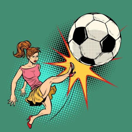 A woman hits a soccer ball, football championship....