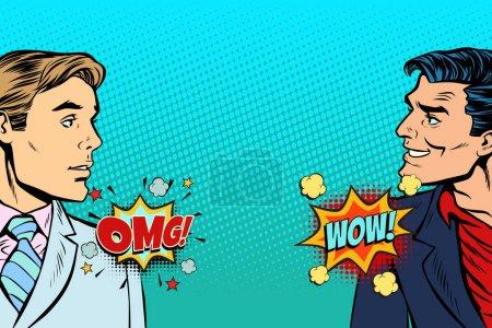 Illustration pour Pop art homme réaction rétro vecteur illustration bande dessinée dessin kitsch vintage - image libre de droit
