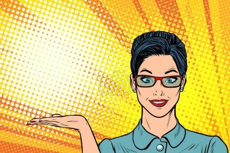 Illustration pour Geste souriant de présentation de la femme. Pop art rétro vectoriel illustration bande dessinée bande dessinée kitsch dessin - image libre de droit