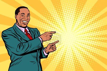 Illustration pour Un homme d'affaires africain pointe du doigt. Pop art rétro vectoriel illustration bande dessinée dessin kitsch - image libre de droit