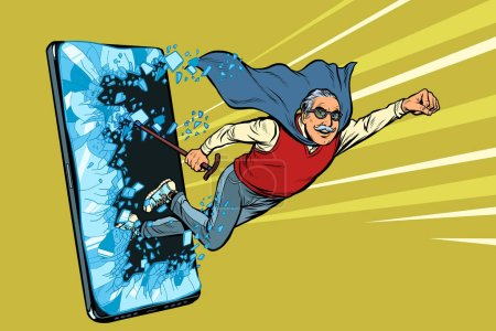 Illustration for Online service for pensioners concept. Old man punches the screen of the smartphone. Online Internet application service program. Pop art retro vector illustration drawing vintage kitsch - Royalty Free Image