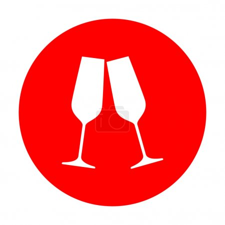 Sparkling champagne glasses. White icon on red circle.