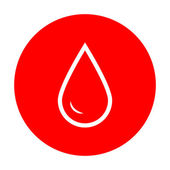 Drop of water sign White icon on red circle