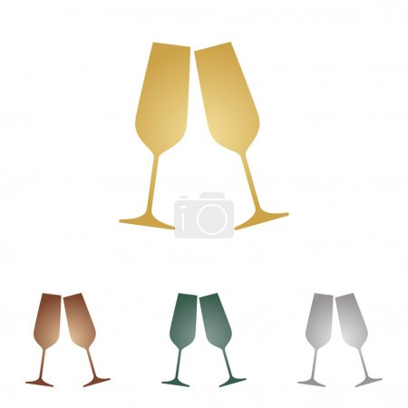 Sparkling champagne glasses. Metal icons on white backgound.