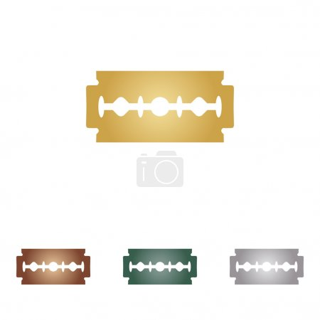 Razor blade sign. Metal icons on white backgound.
