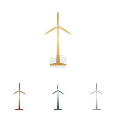 Illustration pour Logo ou signe de l'éolienne. icônes en métal sur fond blanc . - image libre de droit