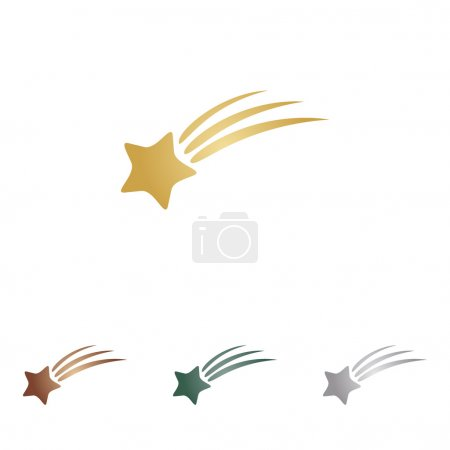 Shooting star sign. Metal icons on white backgound.