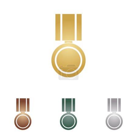Illustration pour Illustration de signe de médaille. icônes en métal sur fond blanc . - image libre de droit