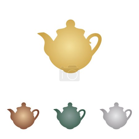 Tea maker Kitchen sign. Metal icons on white backgound.