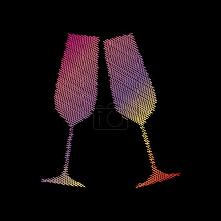 Sparkling champagne glasses. Coloful chalk effect on black backgound.