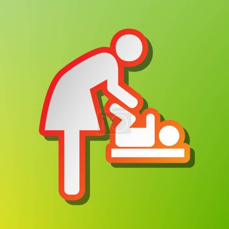 Symbol for women and baby, baby changing. Contrast icon with reddish stroke on green backgound.