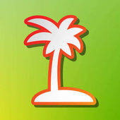 Coconut palm tree sign Contrast icon with reddish stroke on green backgound