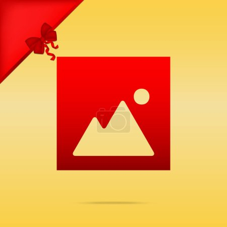 Image sign illustration. Cristmas design red icon on gold backgr
