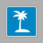 Coconut palm tree sign White icon on blue sign as background