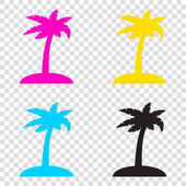 Coconut palm tree sign CMYK icons on transparent background Cy