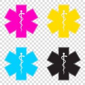 Medical symbol of the Emergency or Star of Life CMYK icons on t