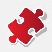 Puzzle piece sign Vector New year reddish icon with outside stroke and gray shadow on light gray background