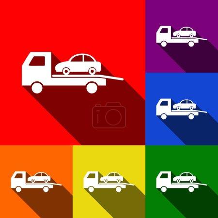 Illustration pour Panneau d'évacuation du wagon remorqueur. Vecteur. Ensemble d'icônes avec des ombres plates à fond rouge, orange, jaune, vert, bleu et violet . - image libre de droit