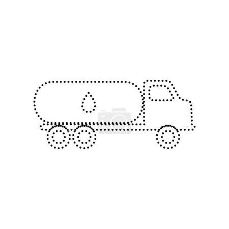 Illustration pour Voiture transporte Pétrole signe. Vecteur. Icône pointillée noire sur fond blanc. Isolé . - image libre de droit