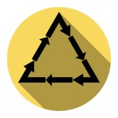 Plastic recycling symbol PVC 3  Plastic recycling code PVC 3 Vector Flat black icon with flat shadow on royal yellow circle with white background Isolated